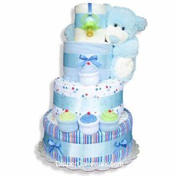 Blue Sampler Baby Diaper Cake