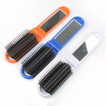 Foldable Mirror Comb Anti-static Pocket Comb Hair Brush Portable Travel Essential (Blue)