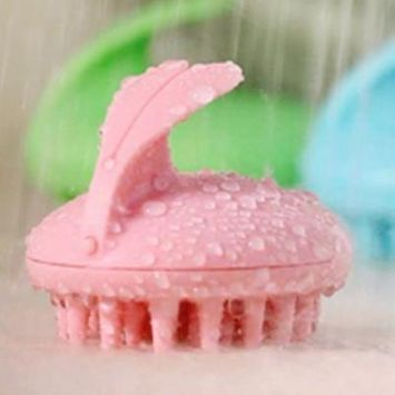 Electric Scalp Massage Shower Vibrating Hair Brush Shampoo Massager(Silicone, pink)