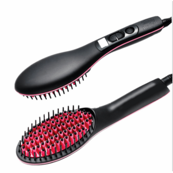 Hair Comb Straightener Ceramic Fast Hair Straightening Comb Brush With LCD Display (Black)