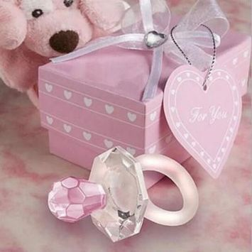 Girl12Queen Mini Bite Resistant Bell Shape Rhinestone Pacifier Baby Shower Party Gift Toy