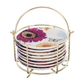 Ceramic 6'' Appetizer Plate w/caddy, Vivid Bouquet
