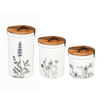 Ceramic Canisters, Set of 3, Stamped Botanical