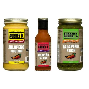 Aubrey D. Gourmet Three in One Pack Ready to Use Sauces, Jalapeno Ketchup, Jalapeno Mustard, Jalapeno Relish, 375 ml x 3