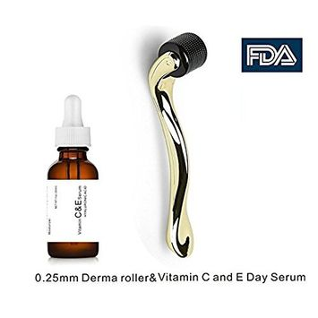 Topcare Derma Roller Cosmetic Needling Instrument For Face, 540 Titanium Micro Needle.25mm with Vitamin C Serum