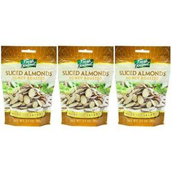 Fresh gourmet Sliced Almonds, Honey Roasted, 3 Pack