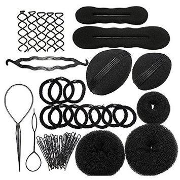 Hair Styling Accessories Kit Set,Bun Maker Hair Braid Tool for Making DIY Hair Styles Black Magic Hair Twist Styling Accessories for Girls or Women