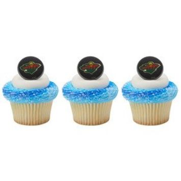 12 MINNESOTA WILD new CUPCAKE topper RINGS party NHL licensed FAVORS hockey