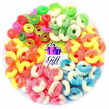 Gift Universe Gummi Rings Candy Gift Tray with Albanese's and Ferrara Candy's Best Seller Fruit Flavored Gummi Ring 6 Section Variety Pack of Candies, 2 Lbs