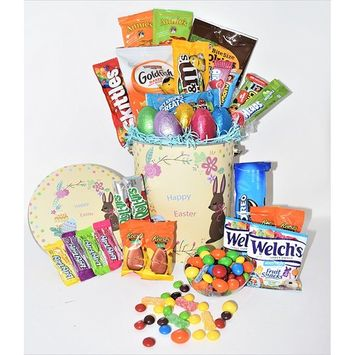Easter Variety Snack Gift Pack in Yellow Happy Easter Tin - 29 COUNT - Easter Chocolate Eggs, Oreo, Welch's, Annie's, M&M's, Goldfish, Reese's - Easter Gift Box for Family, Friends, Kids, Coworkers