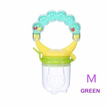 1 Pcs Baby Pacifier Fresh Food Nibbler Fruit Feeder Children Baby Supplies Nipple Pacifier Teat Bottles Nipples Feeder Safe Feeding (Green M)