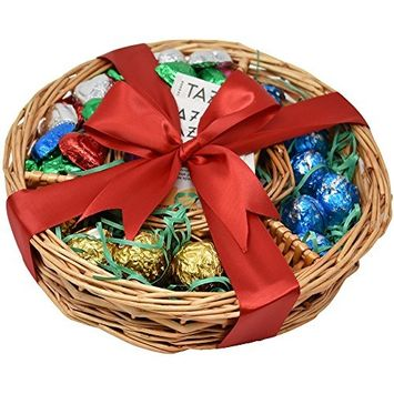 Mothers Day Gift Basket (45 Pieces) - Tazo Teas, Perugina Baci ,Ferrero Rocher ,Madelaine Chocolates - Perfect for Mother, Wife, Daughter, Sister and Grandmother - Lovely Decorated with a Ribbon