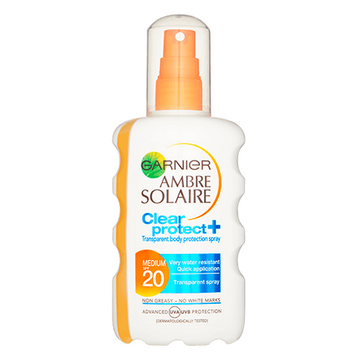 Garnier Ambre Solaire SPF 20 Clear Protect+ Transparent Body Protection Spray