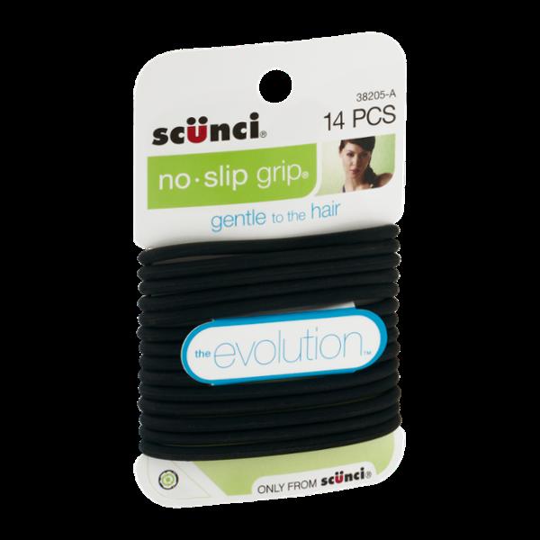 Scunci The Evolution No Slip Grip Gel Hair Ties Black - 14 CT