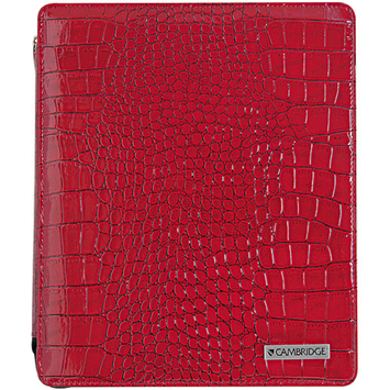 Mead MEA67136 Cambridge Faux-Crocodile Red IPad Case With Zipper Closure