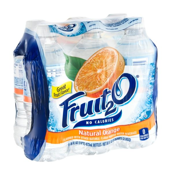 Fruit2O Flavored Purified Water Beverage Natural Orange - 6 CT
