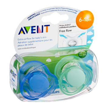 Avent Orthodonic Pacifiers 6-18m Free Flow  - 2 CT