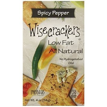 Partners Wisecrackers Low Fat Crackers, Spicy Pepper, 4-Ounce Boxes (Pack of 6)