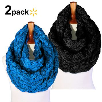 Basico Women Winter Chunky Knitted crochet Infinity Scarf Warm Circle Loop
