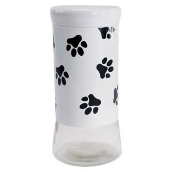Housewares International 9-1/4-Inch Glass Pet Treats And Snacks Storage Jar, Black Background