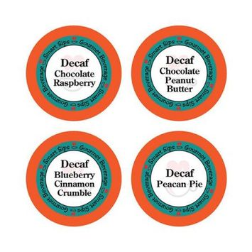 Smart Sips Coffee Decaf Flavored Coffee Variety Sampler Pack, for Keurig K-cup Machines, 48 Count, Decaf Chocolate Peanut Butter, Decaf Blueberry C