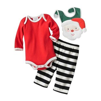 Infant Boys Santa Claus Bib Bodysuit & Fleece Pants Set
