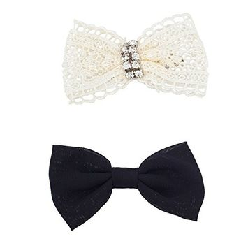 Lux Accessories Black and White Lace Holiday Assorted Bow Clip Set 2pc