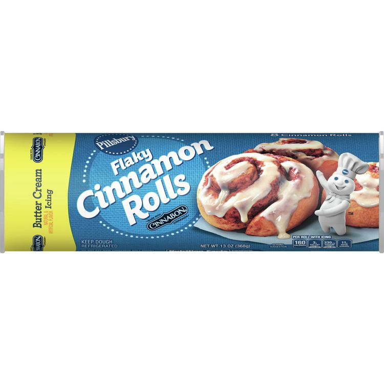 Pillsbury Flaky Cinnamon Rolls With Butter Cream Icing 8 Ct, 13 oz