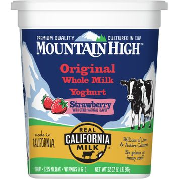 Mountain High, Original Whole Milk Yoghurt, Strawberry, 32 oz