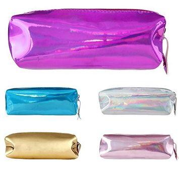 DEESEE(TM) Makeup Brush Bag Hologram Pencil Case Pen Holder Makeup Boxes Zipper Comestic Storage Bag (G