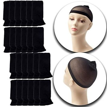 Set Kit of 24pcs Stretchable Plain Design Wigs Caps Breathable Elastic Hair Stockings In Black Color