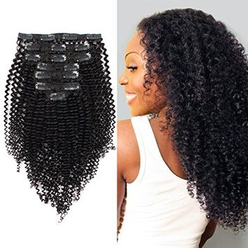 AmazingBeauty 8A 100 Remy 3C and 4A Kinkys Curly Clip in Human Hair Extensions, Real Thick, Double Weft, Natural Color 120 gram 14 Inch for Bantu Knotted, Twisted Out