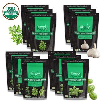 Simply Beyond, Organic Fresh Frozen Herbs, Starter Kit ( 3 each of Basil, Garlic, Parsely, Italian Mix) 1.76oz to 2.64oz, 12 Pack