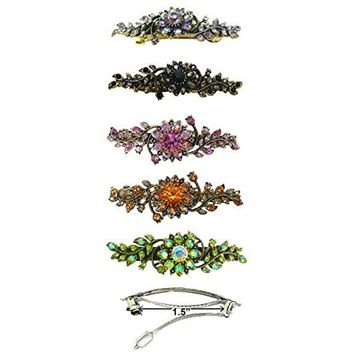 Set of 5 Crystal Barrettes, 1 Each of 5 Colors, in Antique Gold Plating 5A86600-1-5