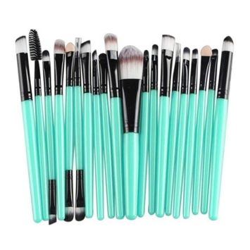 Makeup Brush Sets for Women, Kingfansion 20 Pcs/Set Foundation Eye Shadow Eyeliner Mascara Blush Brush Toiletry Kit (Black)