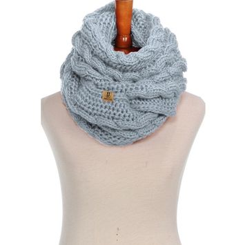 Basico - Basico Women Winter Chunky Knitted Infinity Scarf Warm Cable Loop Various Colors [name: actual_color value: actual_color-braidshgray]