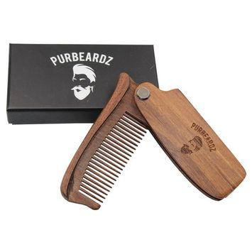 PurBeardz Folding Wood Comb for Head Hair and Beards