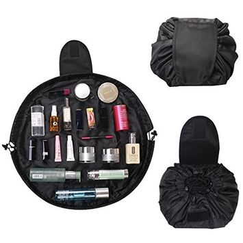 Lazy Quick Pack Drawstring Cosmetic Bag, Black Makeup Pouch Large Capacity Toiletry Bag for Women Girls, Portable and Waterproof