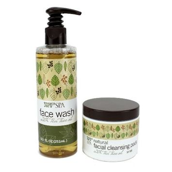 Trader Joe's Spa Set: Face Wash and Facial Cleansing Pads with Tea Tree Oil