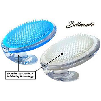Bellesante Ingrown Hair and Razor Bump Treatment- 3 PCS-Travel Kit -White and Blue- Fine Bristle Brush to Prevent, Remove, Exfoliate, and Treat Pseudofolliculitis barbae - Men and Women