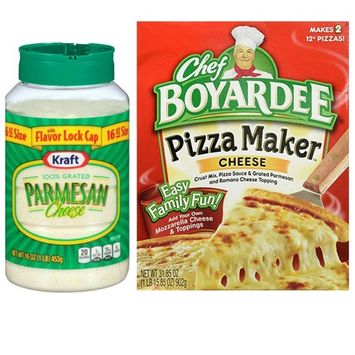 Kraft Parmesan Grated Cheese Canister and Chef Boyardee Pizza Crust Kit. Convenient One-Stop Shopping For Popular Make At Home Pizza. Easy to Source With 1 Click. Everyone Loves Homemade Pizza!