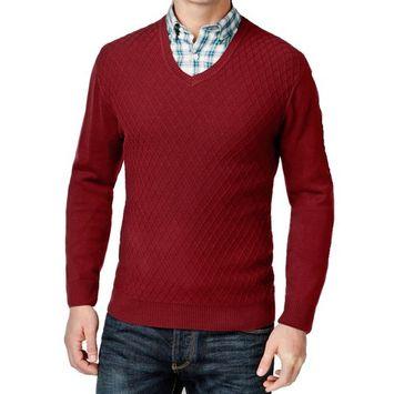 Club Room Men Anthem Red Diamond Knit Pattern Sweater Size Large