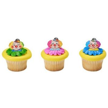 24 Pack Jolly Clowns Cupcake Rings Cake Toppers