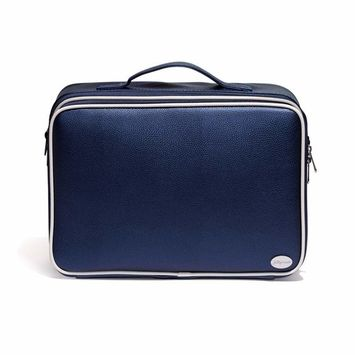Joligrace Large Makeup Bag Organizer Professional Cosmetic Case 3 Layer Beauty Artist Storage Brush Box with Shoulder Strap PU Leather Designed for Home Travel or Studio Dark Blue