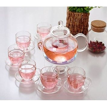 Kendal 27 oz glass filtering tea maker teapot with a warmer and 6 tea cups and plates