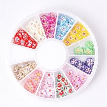3D Fimo Clay Slice Flower Nail Art Tips Uv Acrylic Decorating Wheel