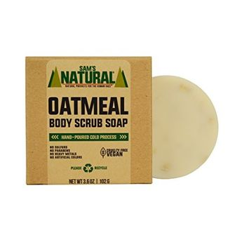 Sam's Natural Oatmeal Body Scrub Soap Single Bar - Oatmeal Body Scrub - Body Soap - Bar Soap - Natural - Vegan and Cruelty Free - America's Favorite