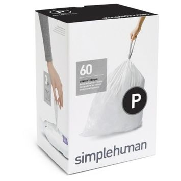 simplehuman Code P Custom Fit Liners, Extra Large, Ultra Strong Trash Bags, 50-60 Liter/13-16 Gallon, 3 Refill Packs (60 Count)