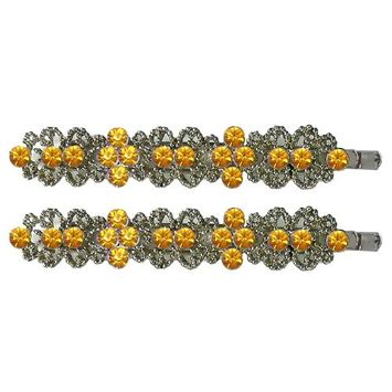 Pair of Crystal Hairpins NF86400-hairpins rose
