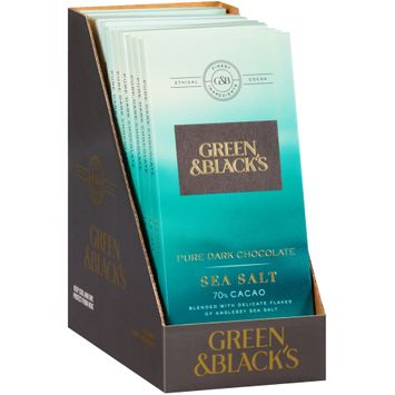 Green & Black's Sea Salt 70% Cacao Pure Dark Chocolate 1 Bars
